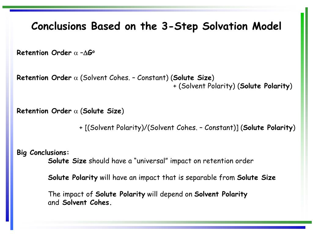 Conclusions Based on the 3-Step Solvation Model