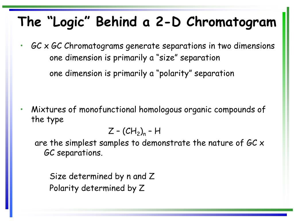 "The ""Logic"" Behind a 2-D Chromatogram"