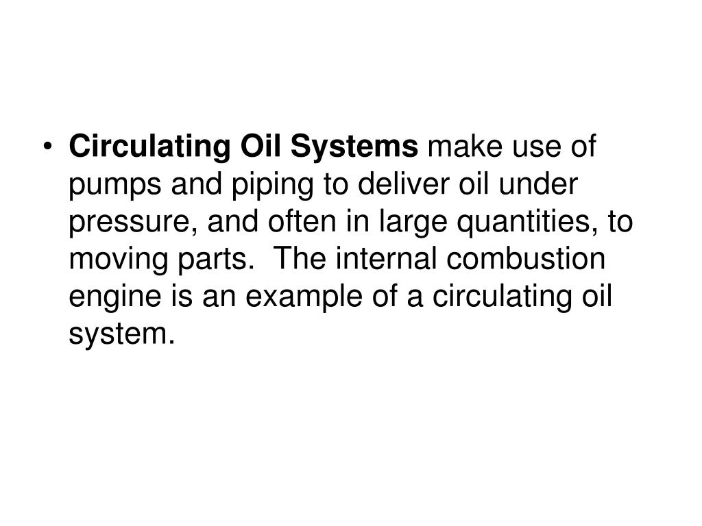 Circulating Oil Systems