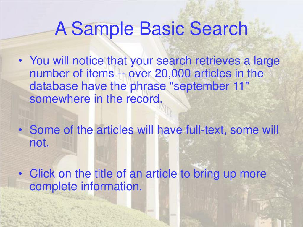 A Sample Basic Search