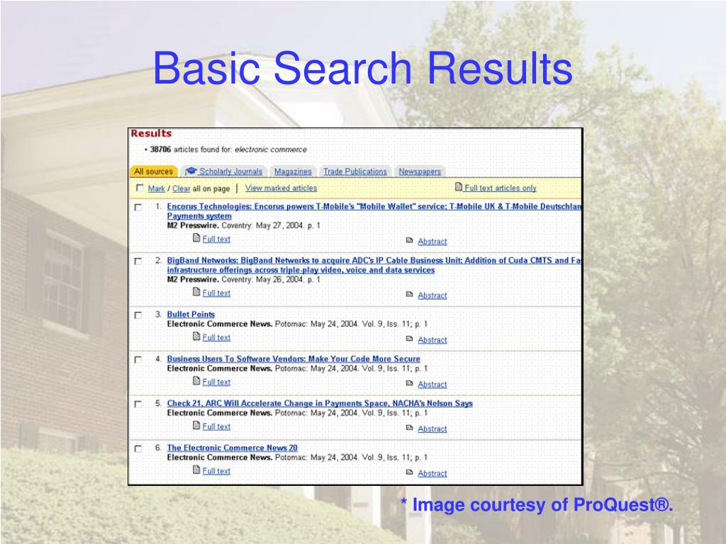 Basic Search Results