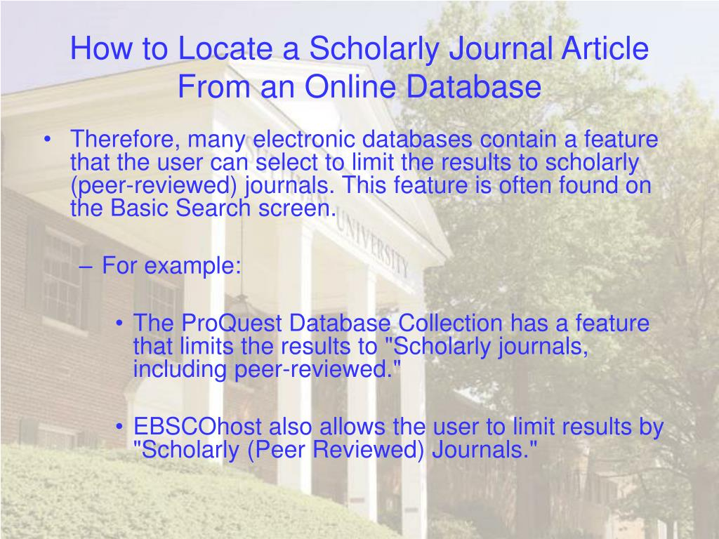 How to Locate a Scholarly Journal Article