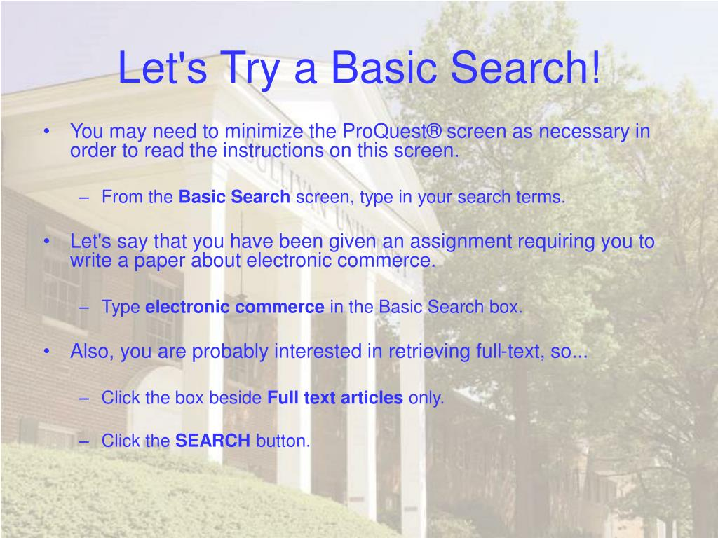 Let's Try a Basic Search!