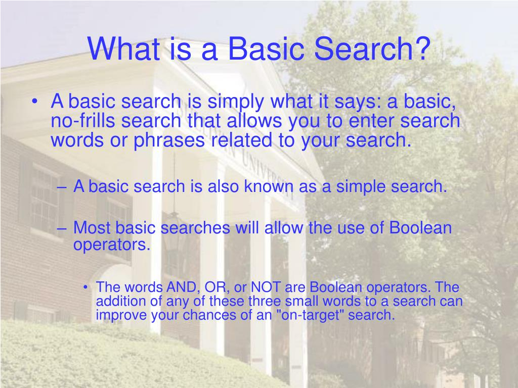 What is a Basic Search?