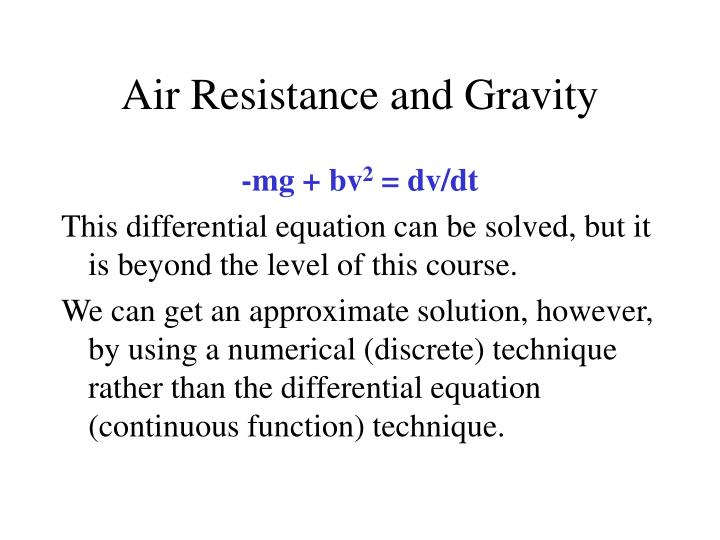 Air resistance and gravity3
