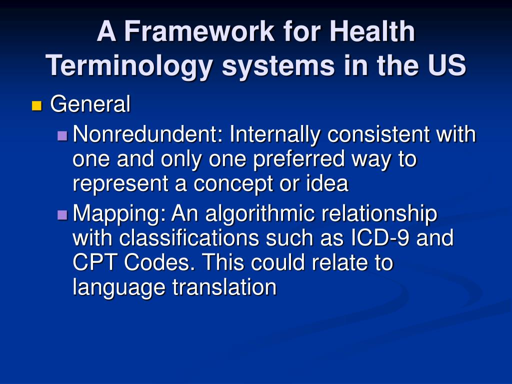A Framework for Health Terminology systems in the US