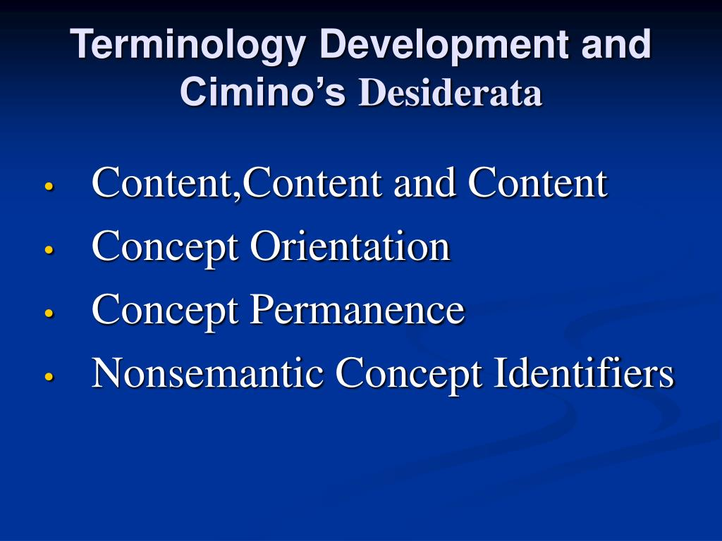 Terminology Development and Cimino's