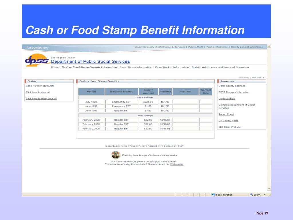 Cash or Food Stamp Benefit Information