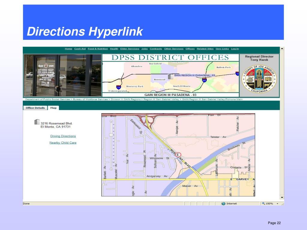 Directions Hyperlink