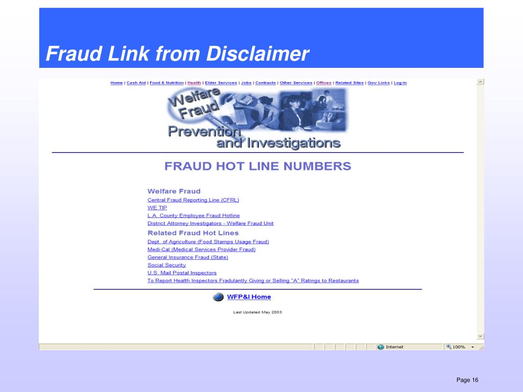 Fraud Link from Disclaimer