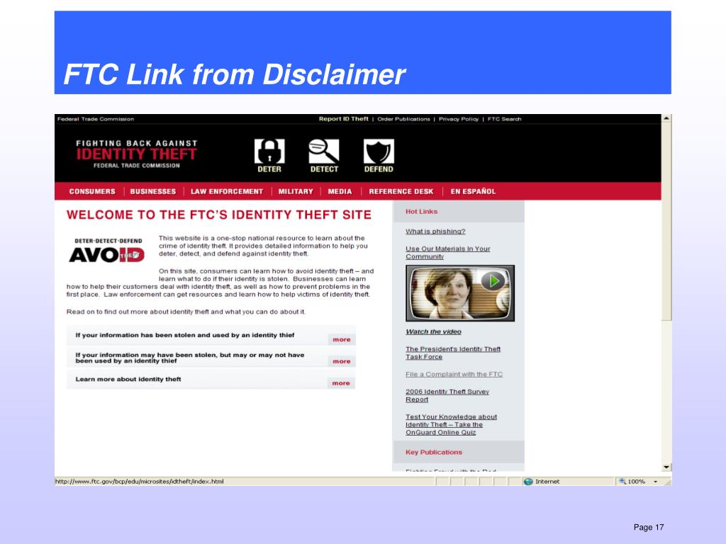 FTC Link from Disclaimer