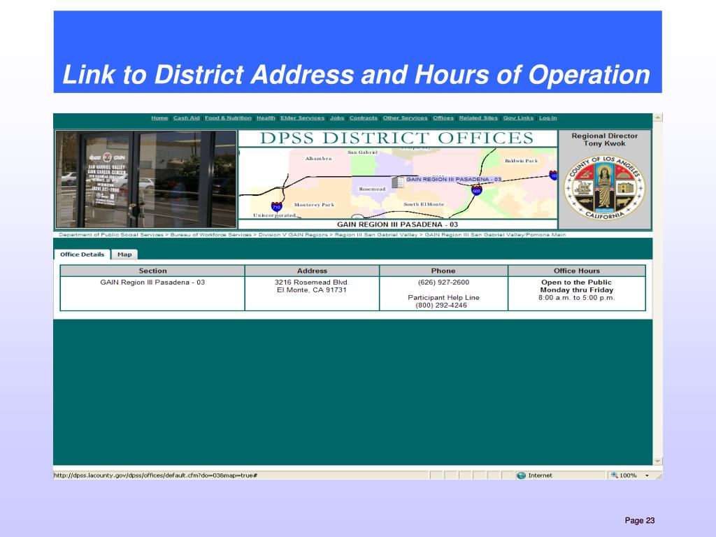 Link to District Address and Hours of Operation