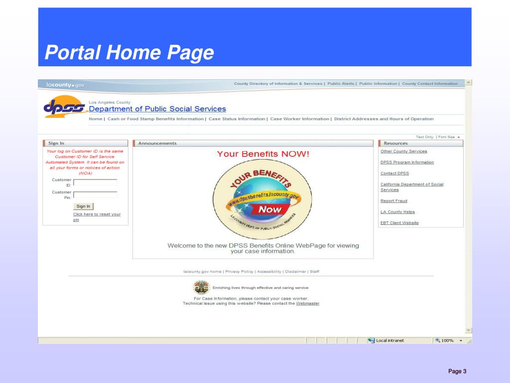 Portal Home Page