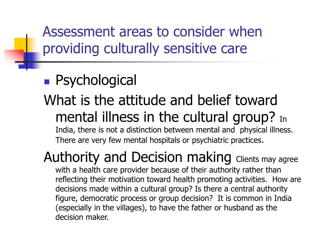 Assessment areas to consider when providing culturally sensitive care