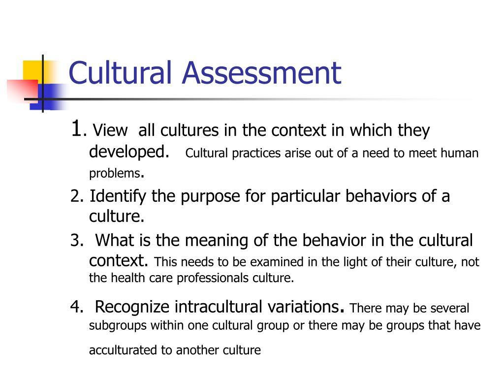Cultural Assessment