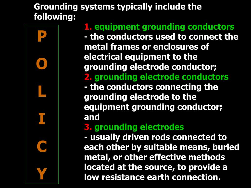 Grounding systems typically include the following: