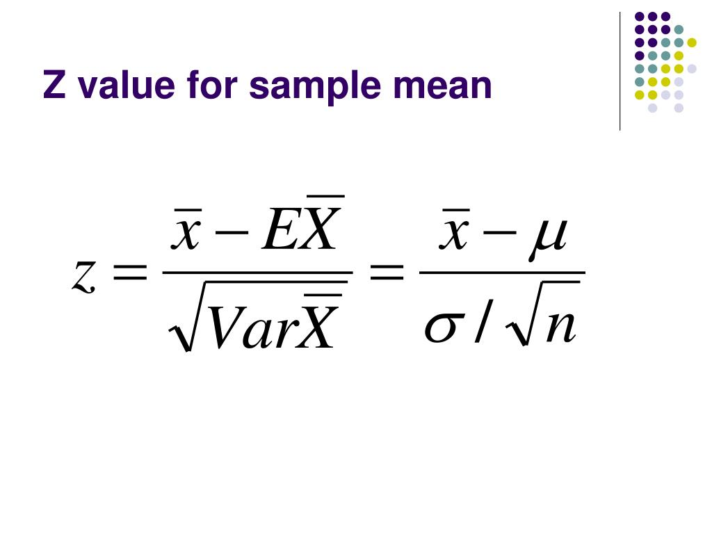 Z value for sample mean