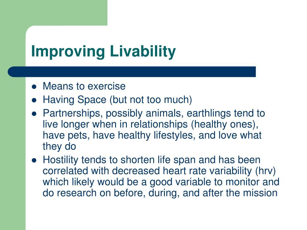 Improving Livability
