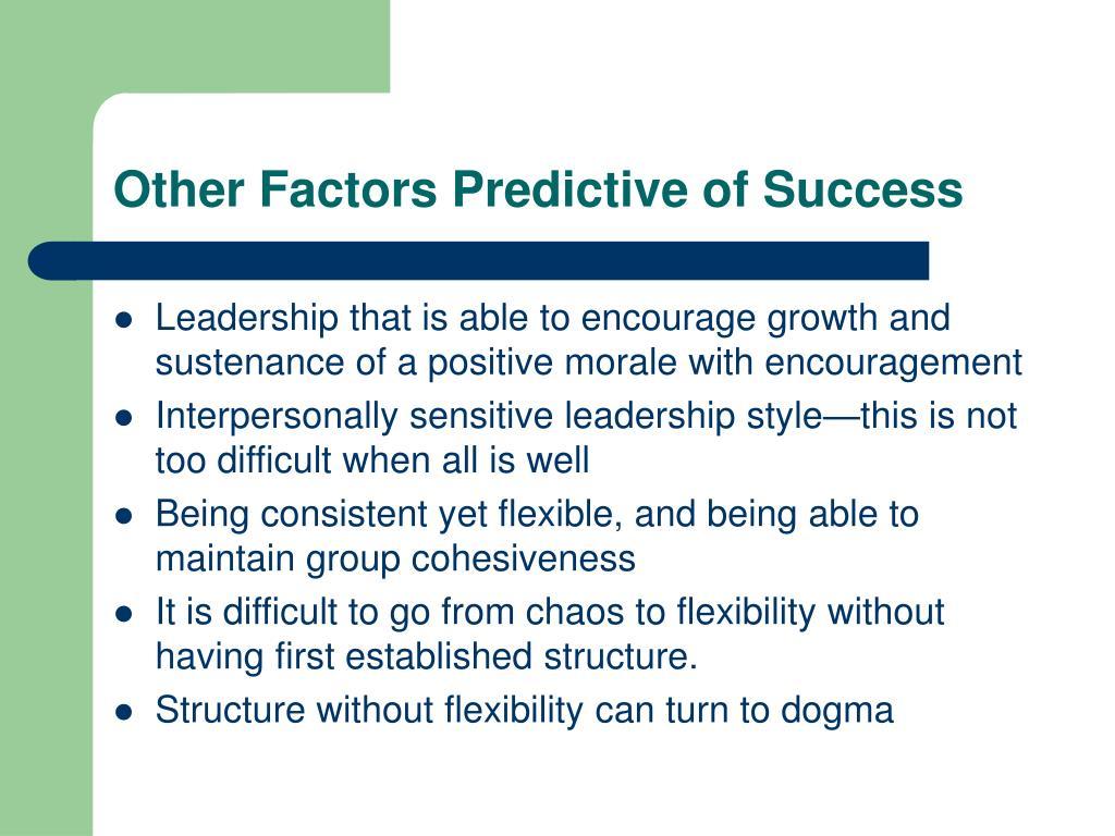 Other Factors Predictive of Success