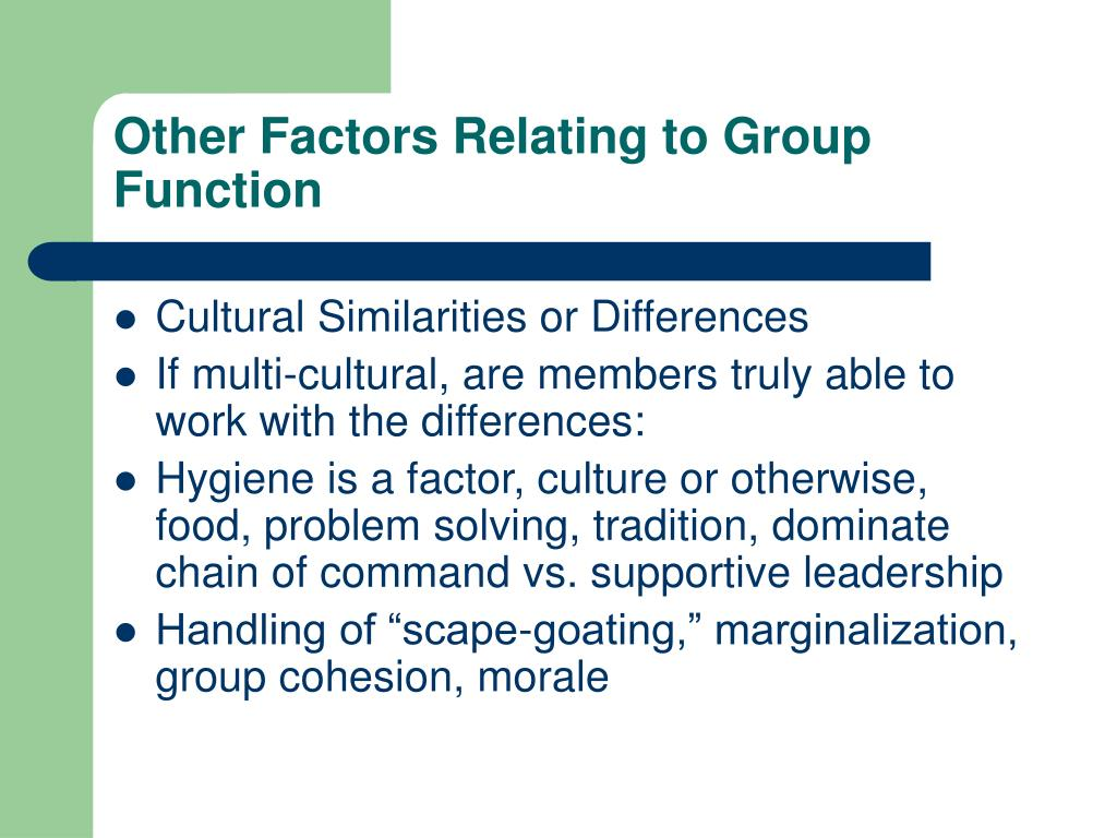 Other Factors Relating to Group Function