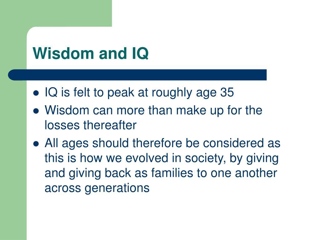 Wisdom and IQ