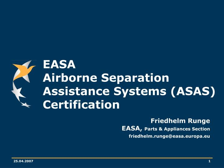 Easa airborne separation assistance systems asas certification