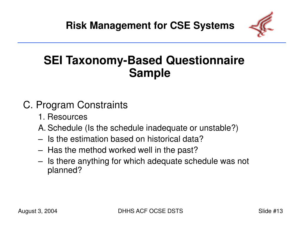 SEI Taxonomy-Based Questionnaire Sample