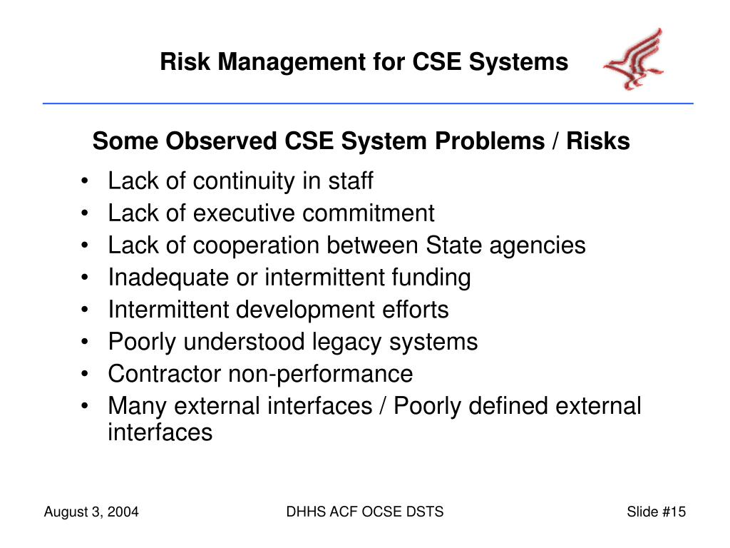 Some Observed CSE System Problems / Risks