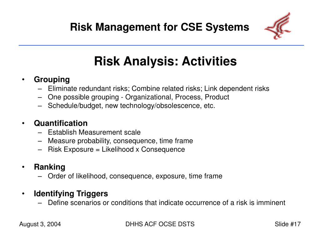 Risk Analysis: Activities