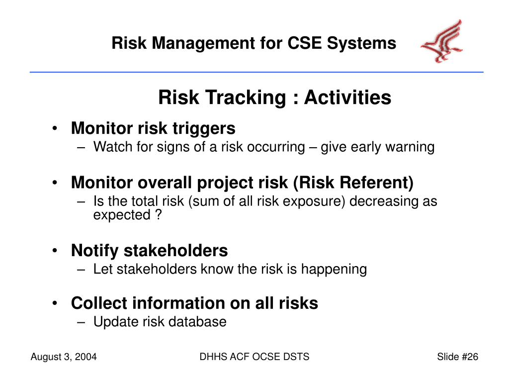 Risk Tracking : Activities