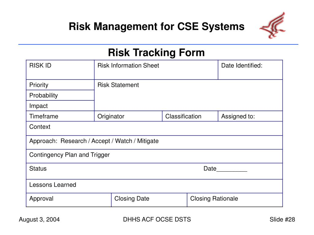 Risk Tracking Form