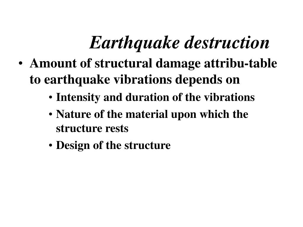 Earthquake destruction