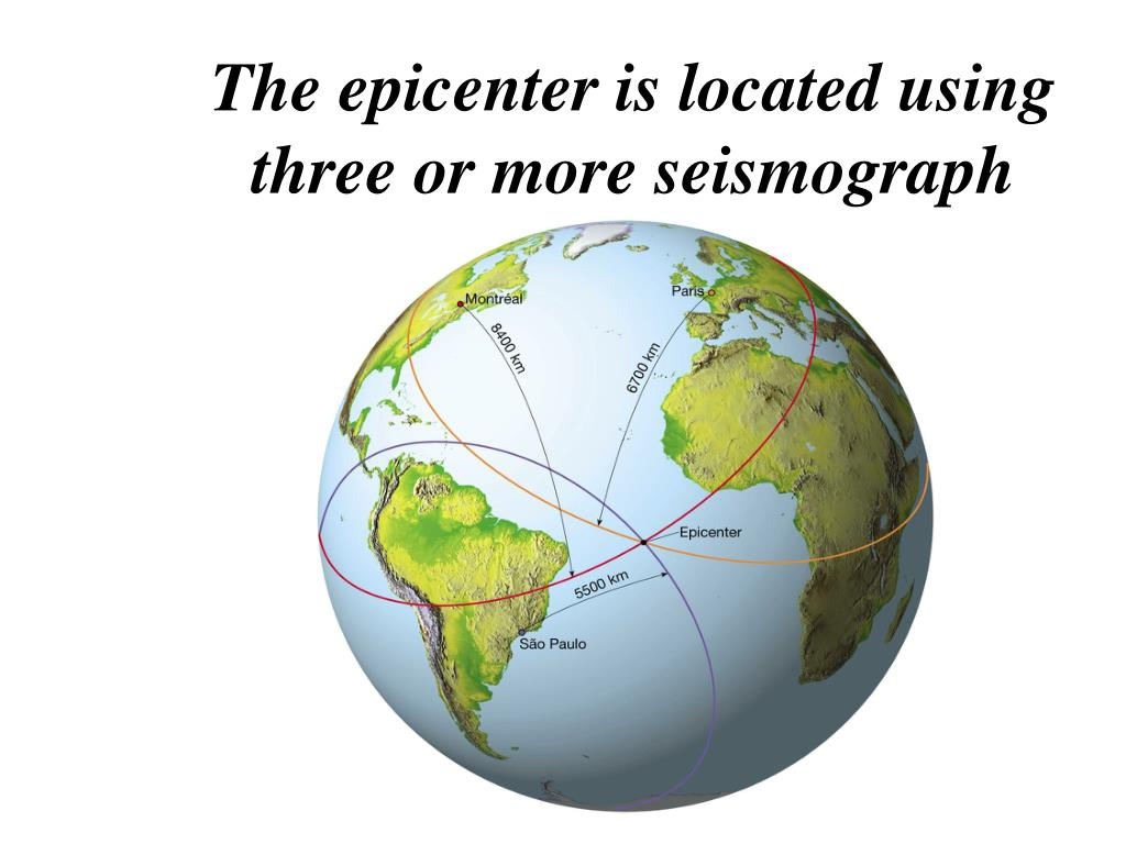 The epicenter is located using three or more seismograph