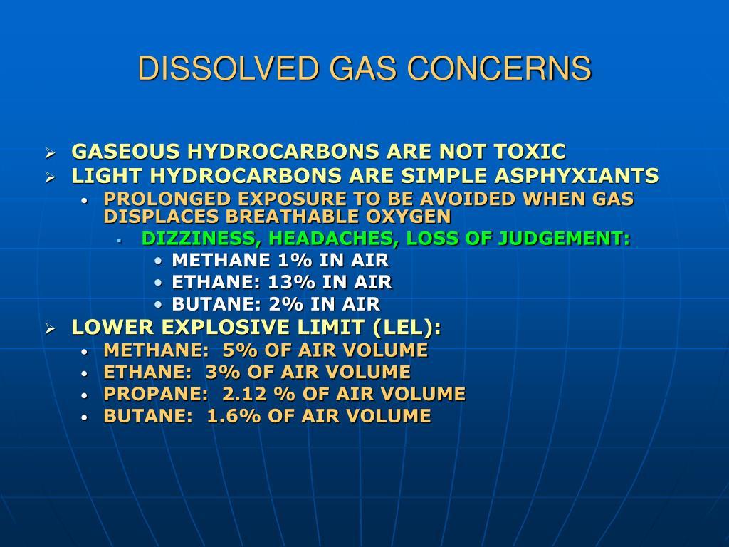 DISSOLVED GAS CONCERNS