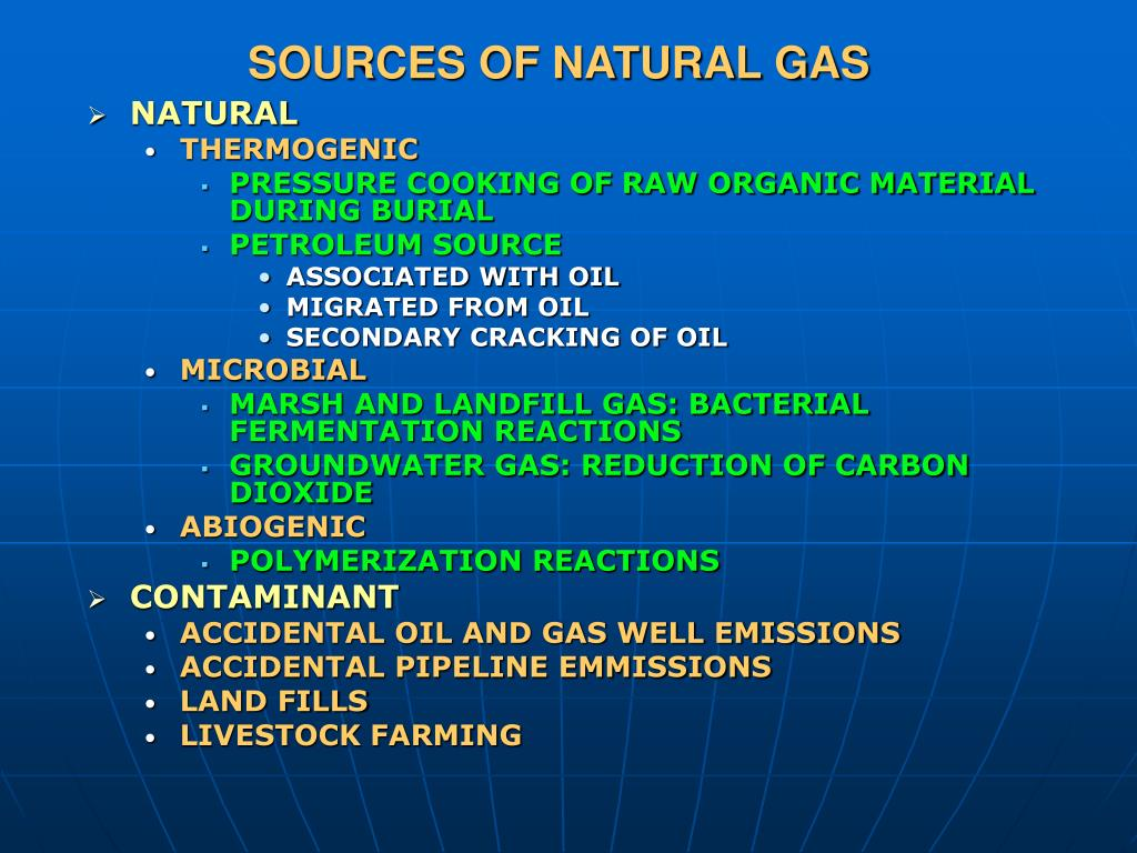 SOURCES OF NATURAL GAS
