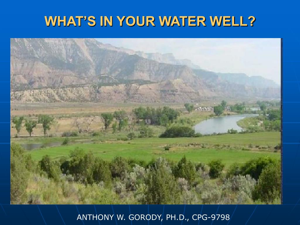WHAT'S IN YOUR WATER WELL?