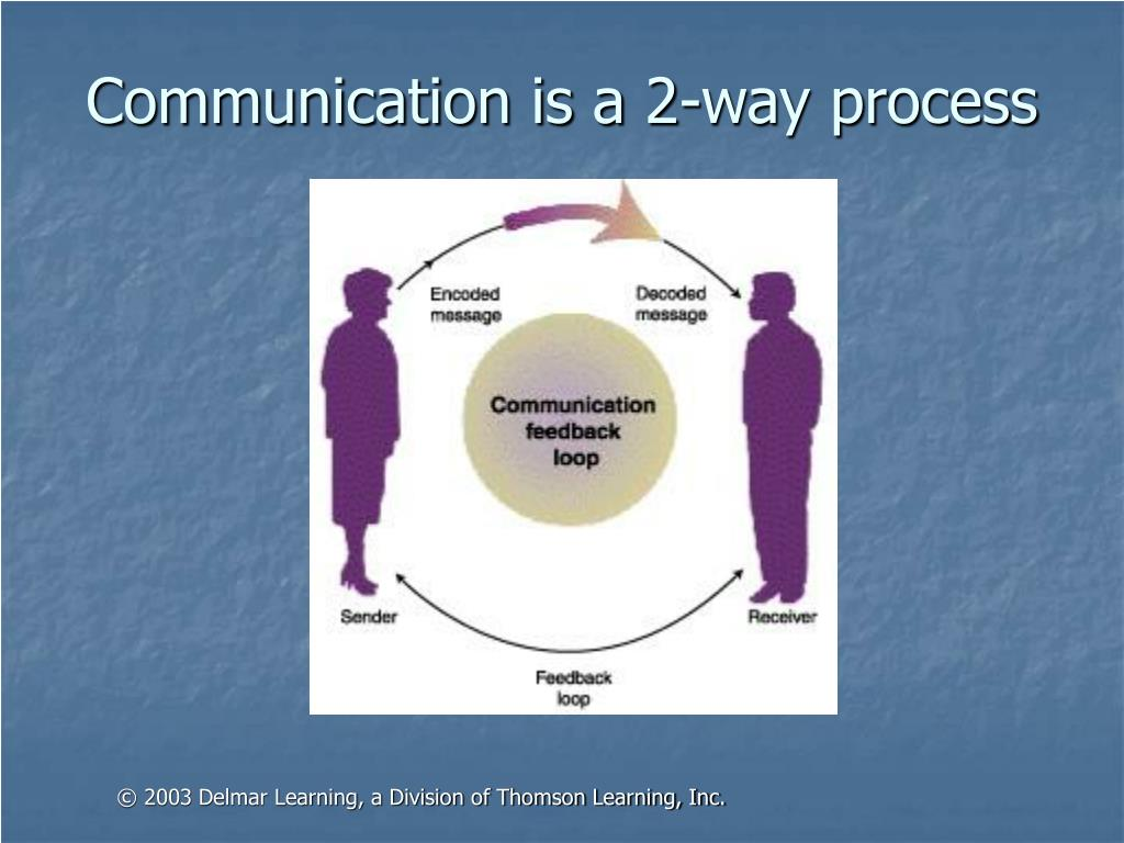 Communication is a 2-way process