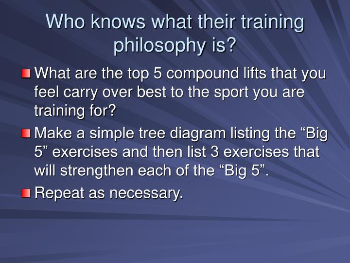Who knows what their training philosophy is l.jpg