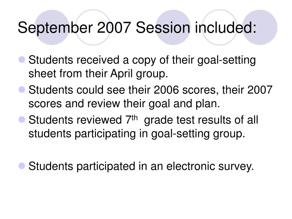September 2007 Session included: