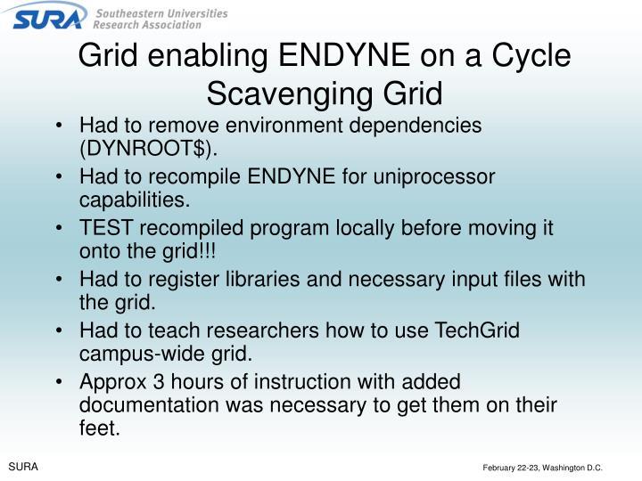 Grid enabling ENDYNE on a Cycle Scavenging Grid
