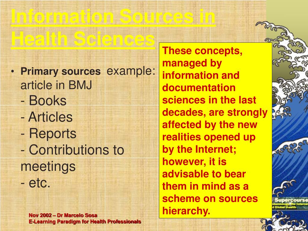 Information Sources in Health Sciences