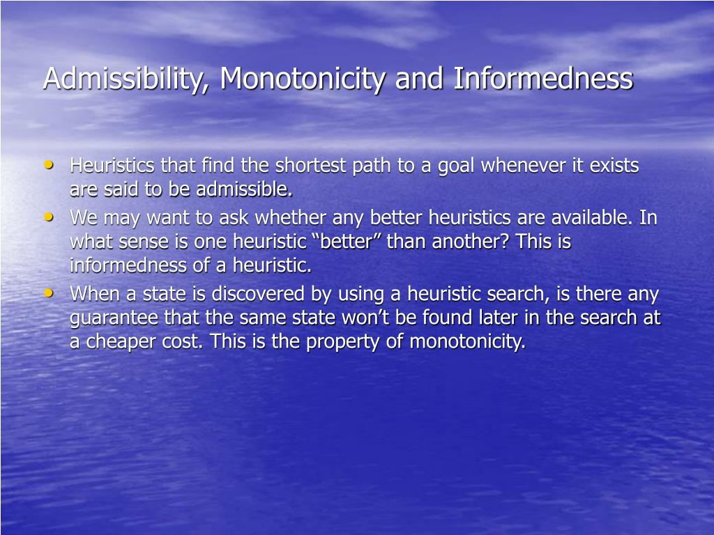 Admissibility, Monotonicity and Informedness