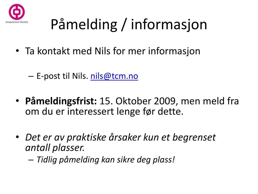 Påmelding / informasjon