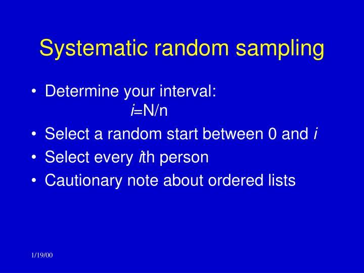 Systematic random sampling
