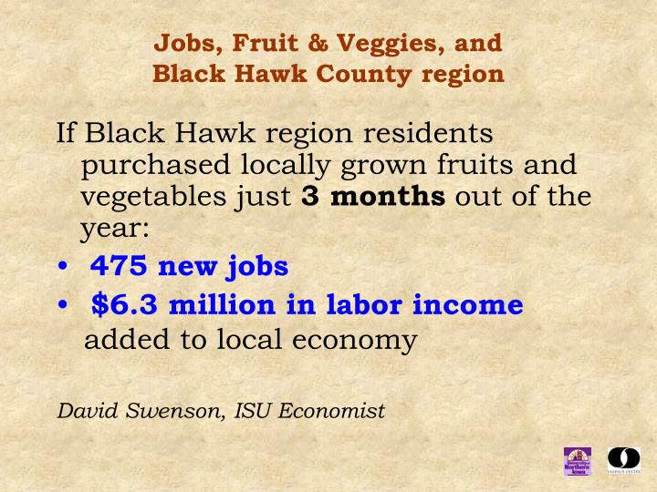 Jobs, Fruit & Veggies, and