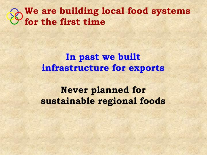 We are building local food systems