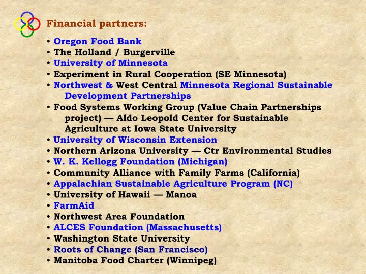 Financial partners: