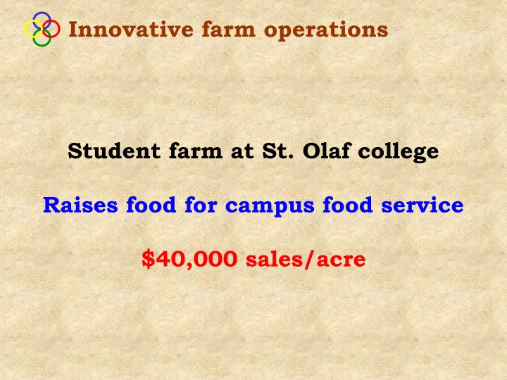 Innovative farm operations