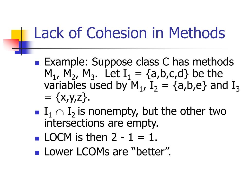 Lack of Cohesion in Methods