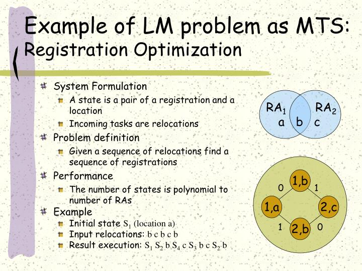 Example of LM problem as MTS:
